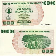 ZIMBABWE 100.000.000 dollars 2008 BEARER CHEQUE UNC!!! - bancnota africa
