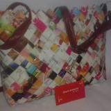 Geanta din hartie, multicolora+ cadou portofel asortat - Geanta handmade