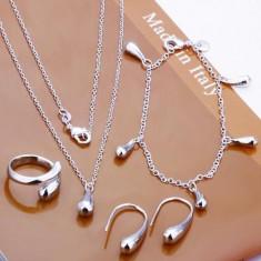 Set bijuterii argint - Set superb argint 925 + cutie cadou; colier + bratara + cercei + inel marime 7