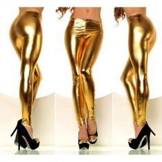 Colanti dama pantaloni metallic stretch spandex neon luciosi disco club auriu, Marime: Marime universala, universala