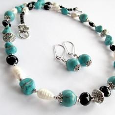 Set unicat cu turcoaz reconstruit, onix si perle de cultura - Set bijuterii handmade si fashion
