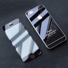 Folie Fata Spate sticla Color Black oglinda protectie iPhone 5/5S - Folie de protectie Apple, Colorata