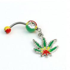 Piercing buric - model ganja frunza marijuana - pandantiv color