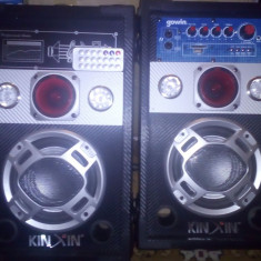 Boxe audio active karaoke cu microfon cu card si usb set 2 bucati - Boxa activa
