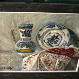Veche natura statica cu ceramica si ie romaneasca semnata F. D'Innely - Pictor roman, Ulei, Realism