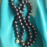 Colier perle negre tahitiene-irizatii multicolore