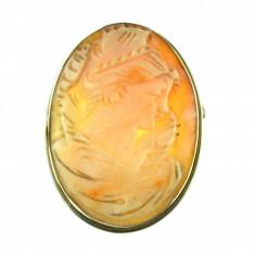 Brosa pandantiv argint camee profil feminin complex, scoica naturala, postbelica - Brosa argint