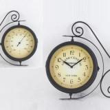 Ceas metalic colonial de perete cu termometru Grand Central - Ceas cu proiectie