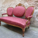 Canapea antica Louis Philippe, sofa veche lemn masiv - Mobilier