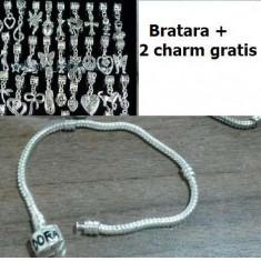 Bratara tip Pandora placata cu argint+ 2 charm gratis - Bratara argint