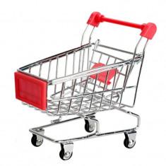 Carucior supermarket din metal in miniatura - decor birou suport cadou etc