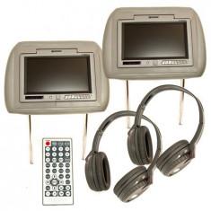 SET 2 TETIERE MONITOR TFT 7 INCH + DVD +CASTI C.HRSET7G - Monitor Auto