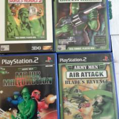Vand colectie Jocuri PS2 Capcom, seria ARMY MEN, pachet 4 buc, vezi poza, playstation 2, Arcade, 12+, Single player