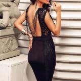 S417-1 Rochie eleganta, de seara cu spatele gol si dantela - Rochie de seara