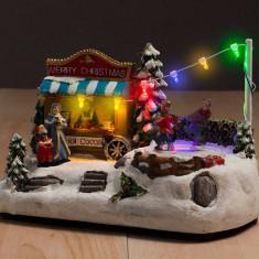 Peisaj de Crăciun cu Lumini și Mișcare (7 LED) - Ornamente Craciun