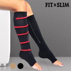 Ciorapi de Compresie Walk Genie - Lenjerie modelatoare dama, Culoare: Bej, Negru