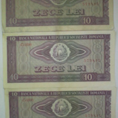 Lot 3 bancnote serii consecutive 10 lei din 1966