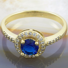 Inel placat cu aur 18k, Zirconiu Alb Clar si Albastru, cod 947 - Inel placate cu aur