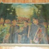 Pictura mare ulei pe panza militari 1954 - Pictor roman, Scene gen, Realism