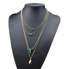 Coliere și pandantiv lung lanț de cristal turcoaz colier bijuterii 3 CULORI pandora