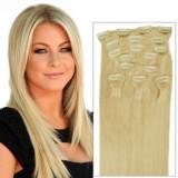 Extensii par blond, Extensie cu 5 clipsuri, Extensie blonda cu clipsuri
