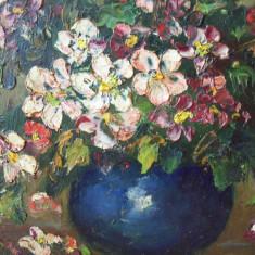 Flori de mar in vas albastru, tablou in ulei pe carton - Pictor roman, An: 1930, Impresionism