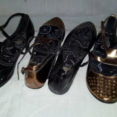 Vand balerini/sandale de vara negru si auriu, marime 38 - Sandale dama