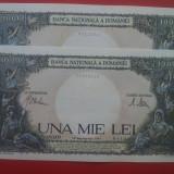 2 bancnote 1000 lei-sept. 1941-SERII CONSECUTIVE-AUNC+++++