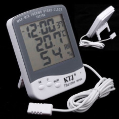 Termometru Higrometru cu Ceas / Termohigrometru