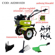 Gardelina Motocultor A02001020, 7 CP, freze, roti cauciuc, plug hoby, rarita reglabila, plug cartofi, cupla, 700-1000 mm