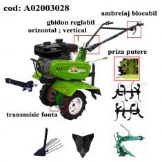 Gardelina Motocultor A02003028, 7 CP, freze, roti, plug LY reversibil, rarita fixa, plug cartofi, 1000 mm