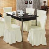 Set 6 huse creponate si elastice pentru 6 scaune Maro inchis