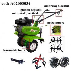 Gardelina Motocultor A02003034, 7 CP, freze, roti cauciuc, roti metalice, prasitoare hoby, 1000 mm