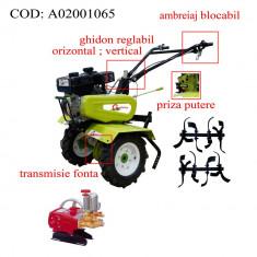 Gardelina Motocultor A02001065, 7 CP, freze, roti cauciuc, pompa presiune, 700-1000 mm