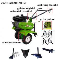 Gardelina Motocultor A02003012, 7 CP, freze, roti, plug BG, rarita fixa, plug cartofi, cupla, 1000 mm