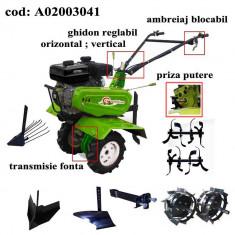 Gardelina Motocultor A02003041, 7 CP, freze, roti cauciuc, roti metalice, plug, rarita reglabila, plug cartofi, cupla, 1000 mm