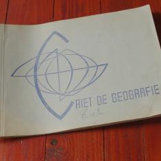 Caiet de geografie perioada comunista cu harti de mana desenate color !!! - Harta