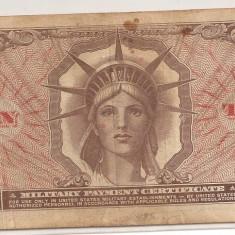 SUA USA MPC MILITARY PAYMENT CERTIFICATE 10 DOLARI DOLLARS F - bancnota america, An: 1965