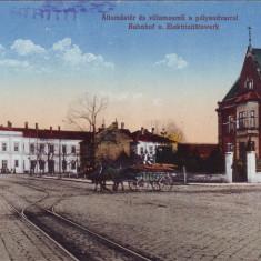 Romania, Nagyszeben, Sibiu carte postala necirculata 1917: Gara, animat, Fotografie
