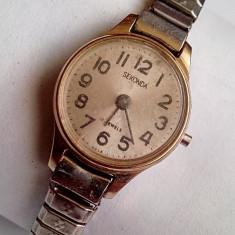 Ceas dama, Casual, Mecanic-Manual, Placat cu aur, Inox, Analog - Sekonda 17 jewels, ceas de dama placat cu aur