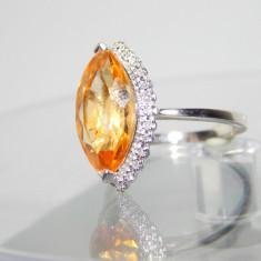 Inel aur 14k CITRINE MARQUISE incadrat de diamante accente - Inel diamant, Culoare: Alb, 46 - 56