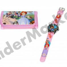 Ceas copii Disney - Set ceas de mana si portofel Sofia