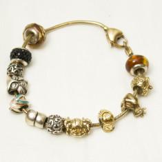 Bratara argint - Bratara Pandora cu elemente din argint si argint placat cu aur
