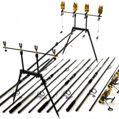 Kit Compet Pescuit Crap 4 Lansete 4 mulinete Si Rod Pod Full Cu Senz si Swingeri - Lanseta