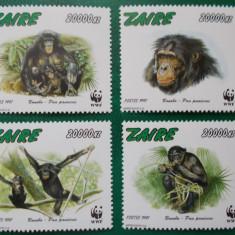 Timbre straine, Nestampilat - Zair 1997 14 Euro fauna protejata wwf maimute - serie nestampilata MNH
