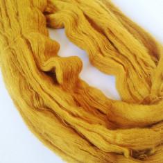 Ata - Fir de tricotat sau crosetat, tip mohair f moale si pufos, galben mustar