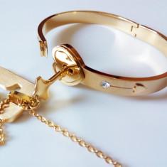 Cadou Romantic Bratara cu Incuietoare + Cheie cu Lantisor Placat Aur 14k - Set bijuterii placate cu aur