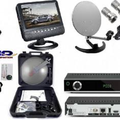 Sistem complet satelit - TV SATELIT CAMPING -TIR-RULOTA-kit cu televizor 12 v