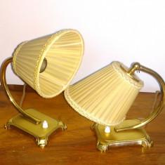 Lampa birou / masa Art Deco din alama cu abajur, pereche, sunt functionale., Lampi