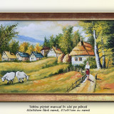 Viata la tara (2) - pictura peisaj rural, ulei pe panza cu rama, 57x37cm - Pictor roman, An: 2016, Peisaje, Altul